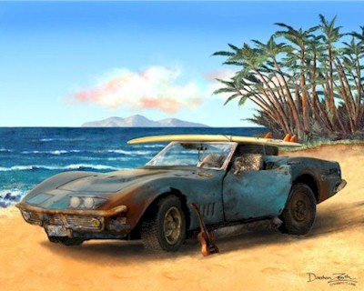 Corvette Stingray Coupe on Corvette Stingray Automotive Automobilia Art Print Poster Painting
