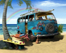 Volkswagen VW Hippie Flower Van Surf Beach Cruiser