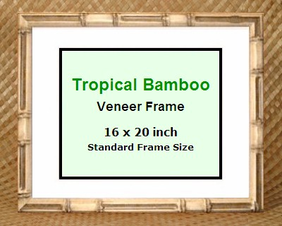 tropical bamboo picture frame 16x20 new glass included made in hawaii ebay. Black Bedroom Furniture Sets. Home Design Ideas