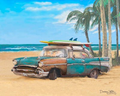 Surf Art 57 Chevy Beach Car With Surfboards Under Palm