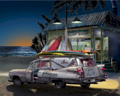 1959 59 Cadillac Hearse Car Hawaiian Art Print Ebay