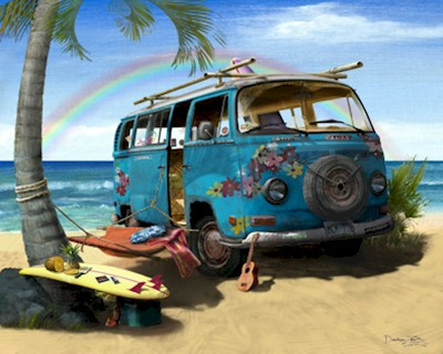 Volkswagen Hippie Bus Art Rainbow Vw Beach Van Camper Ebay