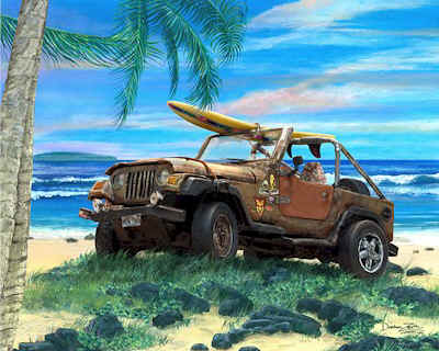 Jeep Wrangler Art Print Poster Painting Surfing Beach